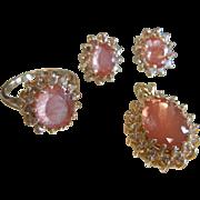 Fabulous Natural Oregon Sunstone Jewelry Set in 14K Gold