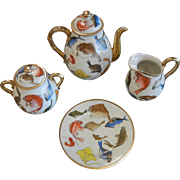 Vintage Old Porcelain Tea Set w/ Hand Painted Fish Decor