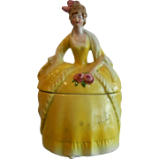 Vintage German Porcelain Dresser Trinket Box Doll Lady in Yellow Dress