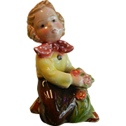 Vintage Royal Belvedere Vienna Austrian Porcelain Figurine of Little Girl & Flowers