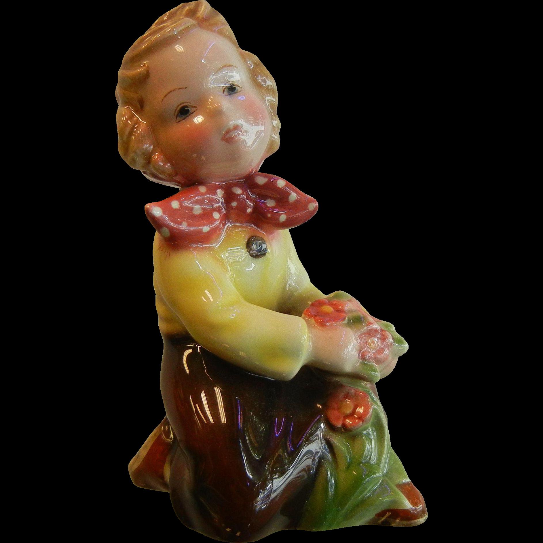 Vintage Royal Belvedere Vienna Austrian Porcelain Figurine of Little Girl & Flowers