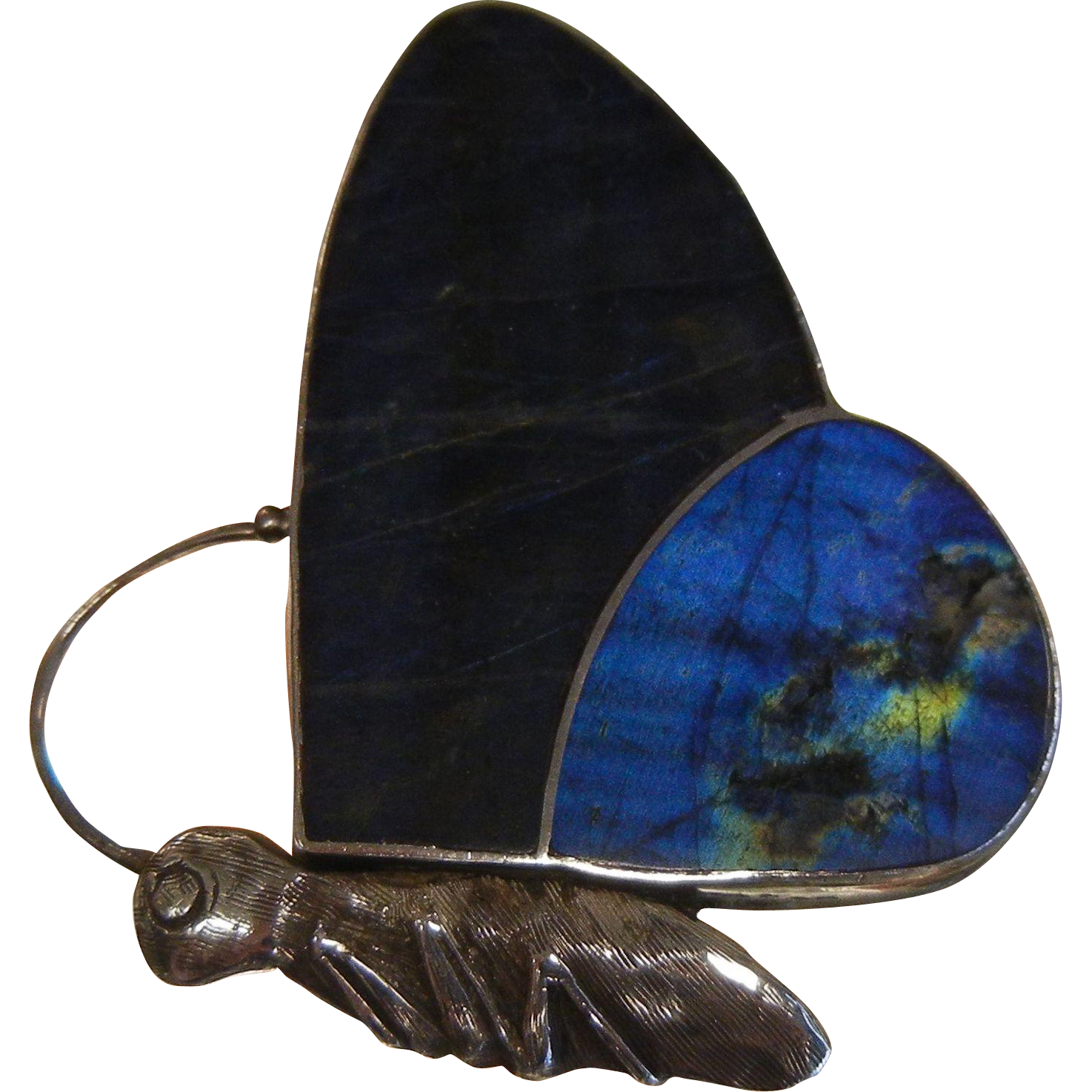 Gorgeous Sterling Silver Butterfly Pendant w/ Natural Labradorite Wings