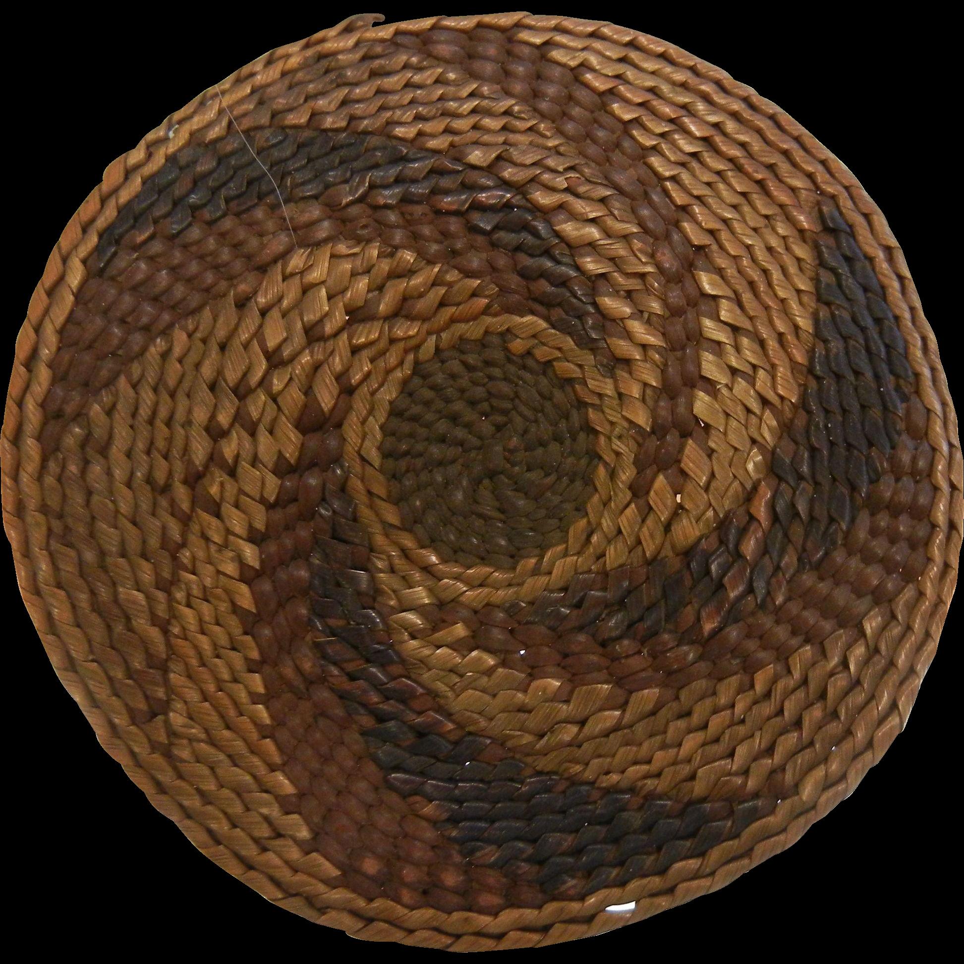 Handmade Vintage Native American Tlingit Basketry Mat