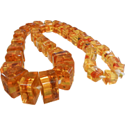 Super Fine Polished Amber Graduated Cube Bead Necklace