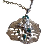 Mid Century Modern Sterling Silver Pendant Necklace w/ Natural Green Stones