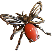 Vintage German Silver Gold PLated Bee Pin w/ Coral Cabochon