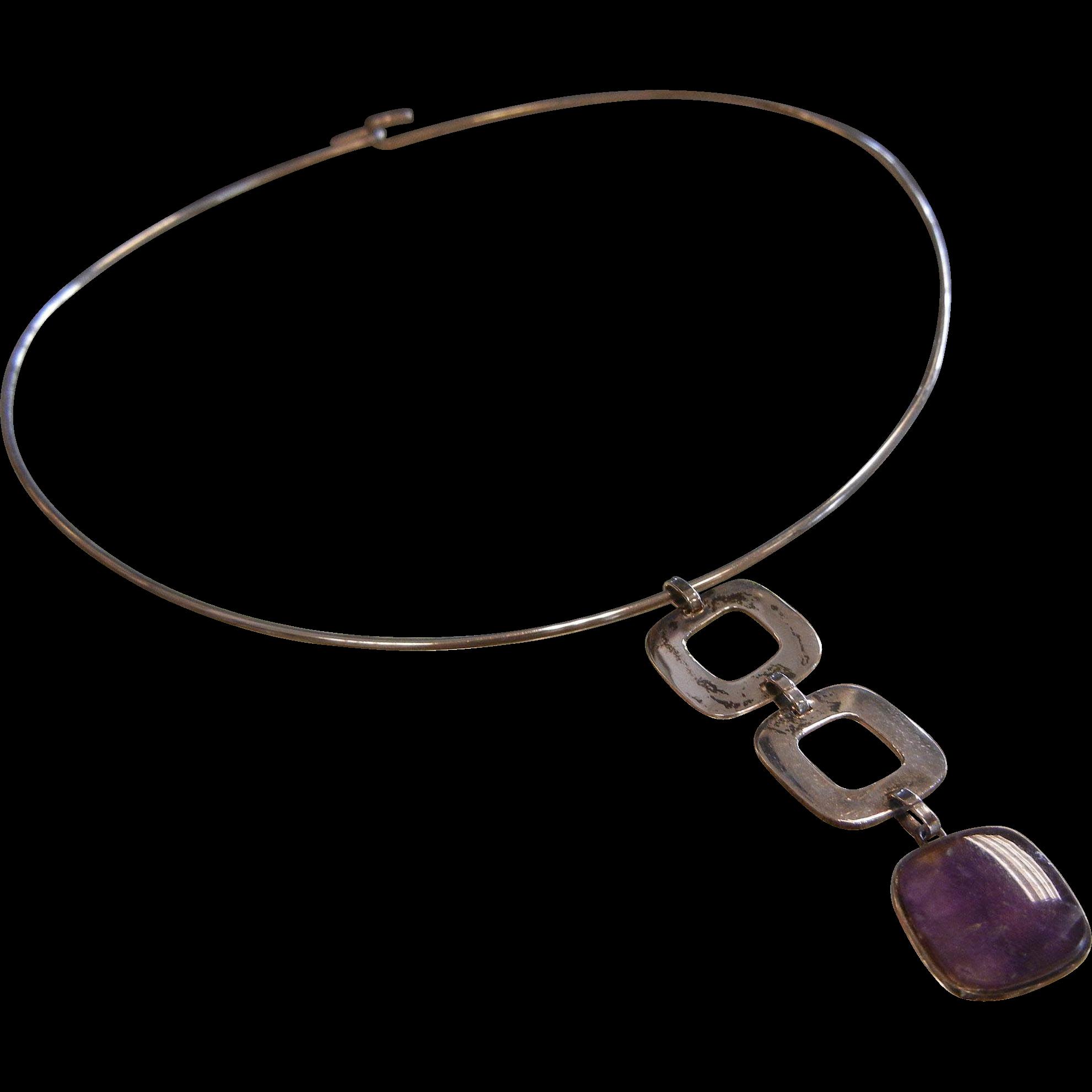Vintage Finnland  Modernist Sterling Silver & Amethyst Pendant Neck Ring Signed H