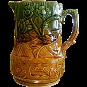Vintage England Signed Two Tone Glazed Porcelain Pitcher