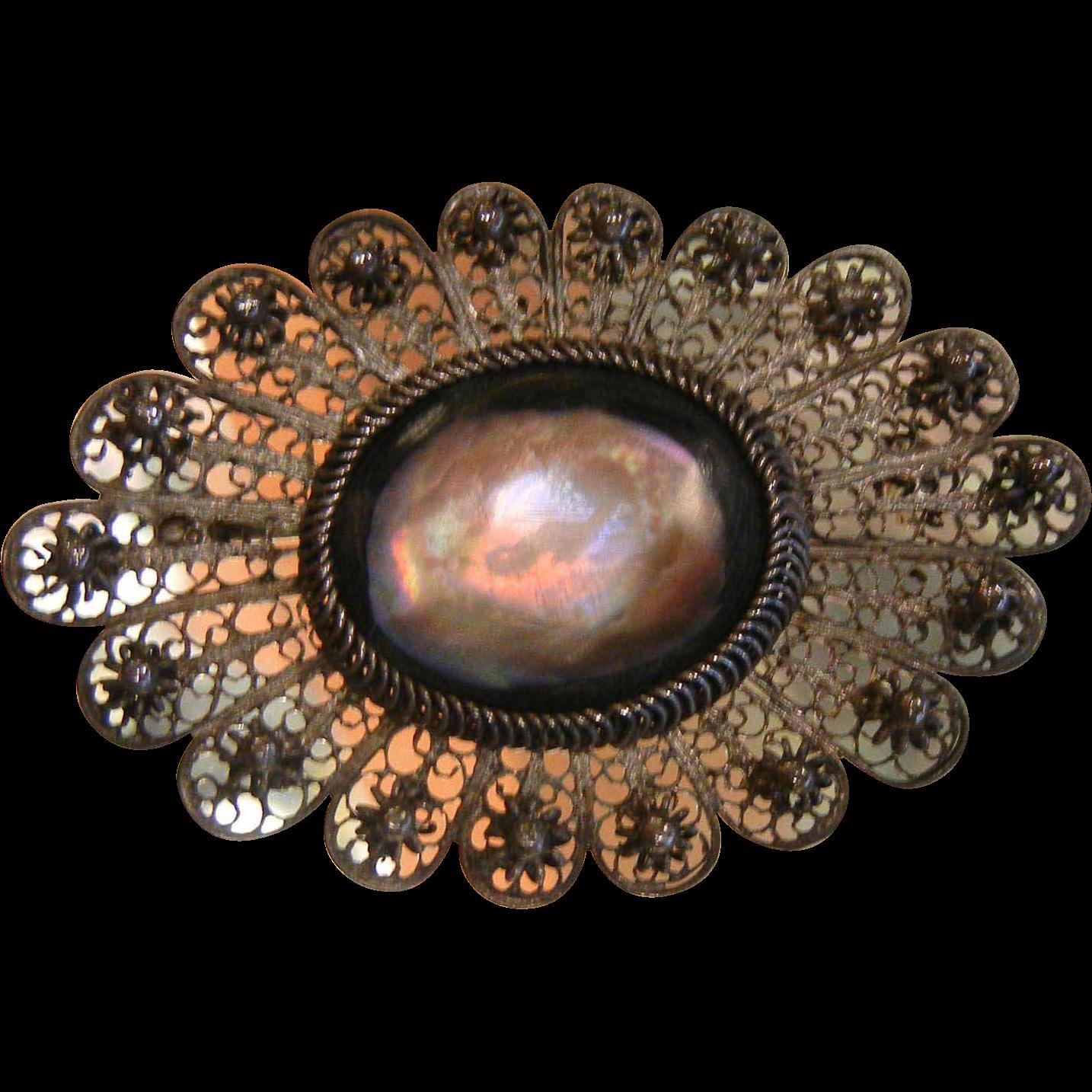 Fine Vintage Silver Filigree Brooch w/ Polished Abalone