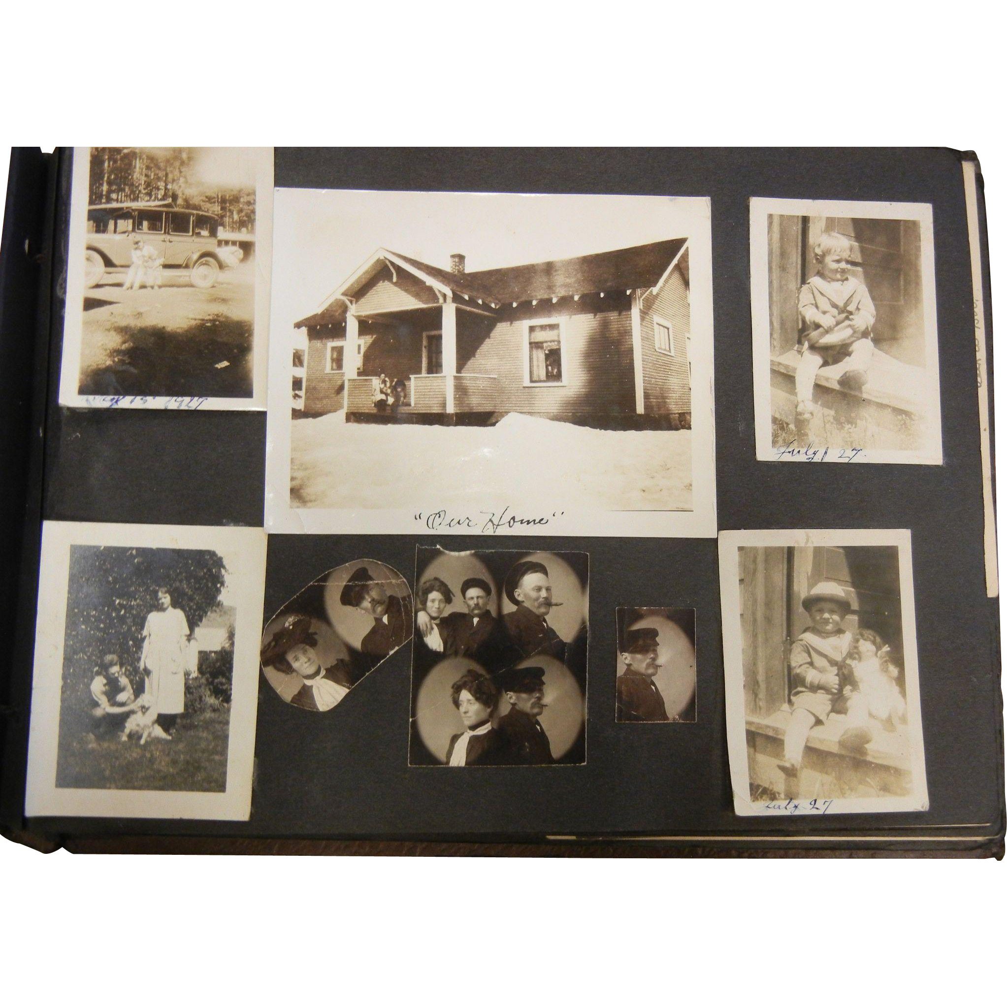 Old Photograph Album w/ Various Photos Dated 1902-1939 - 239 PHOTOS AS FOUND