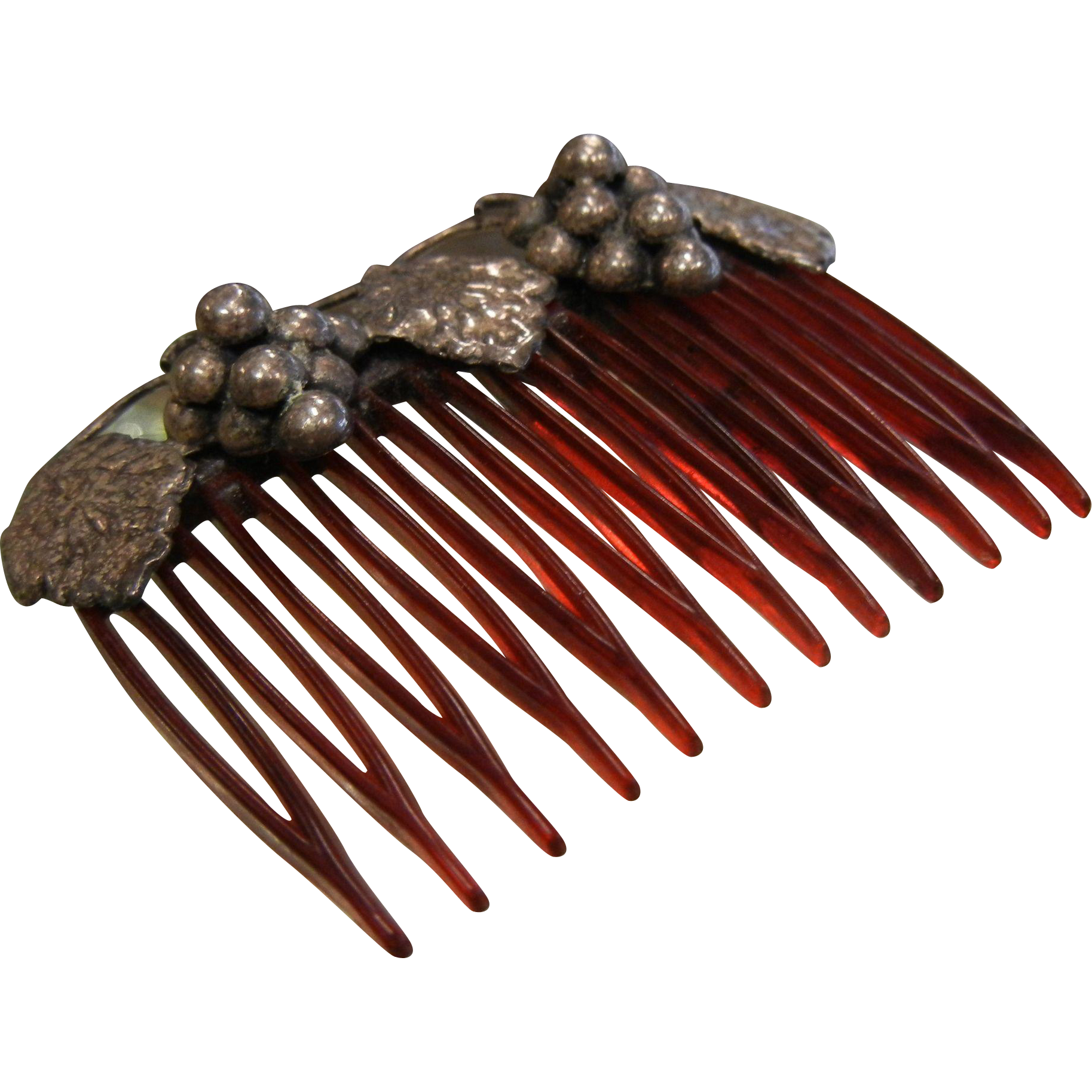 Vintage Hair Comb w/ Sterling Silver Grape Clusters - Hecho en Mexico