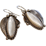 Vintage Sterling Silver Hook Earrings w/ Feather Design & Natural Mother of Pearl