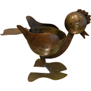 Vintage TAXCO Mexico Brass & Copper Chicken Ashtray