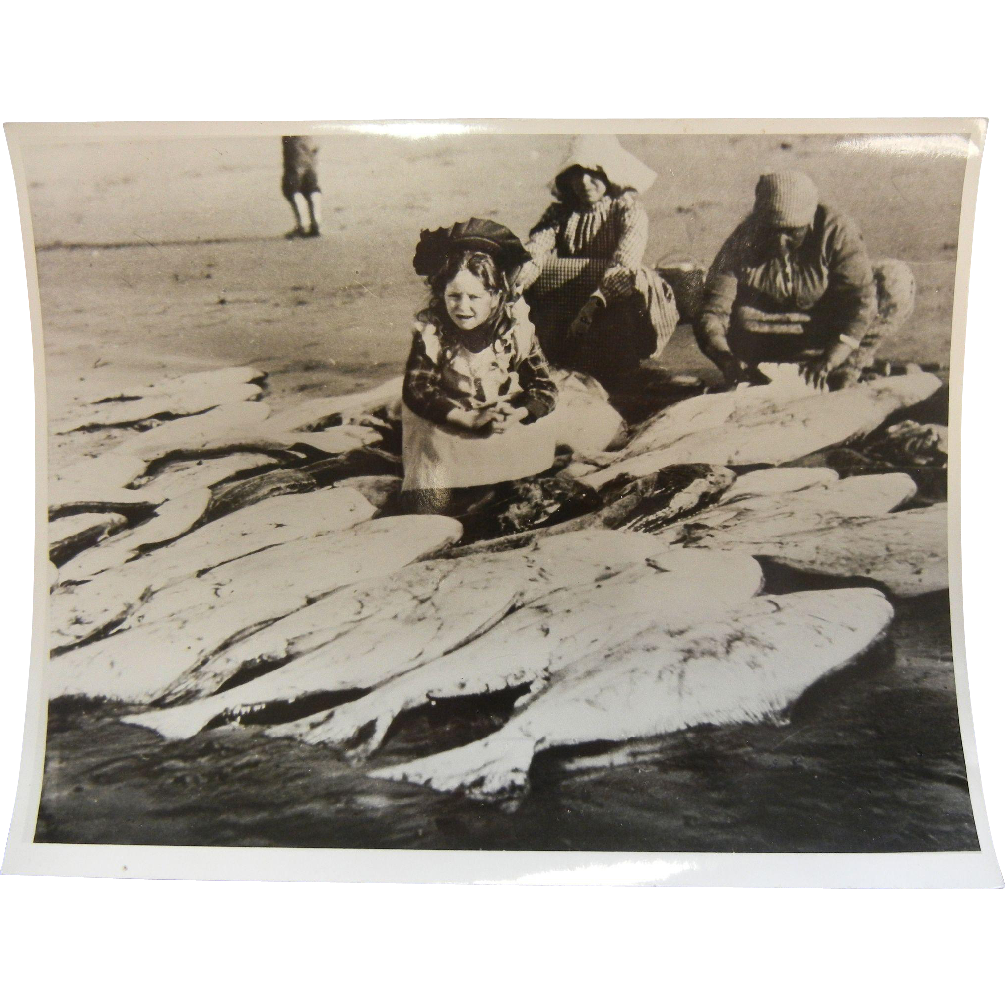 Original B&W Northwest Coast Photograph - Little Girl w/ Fish