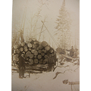 Vintage Original B&W Photograph - Snow Logging
