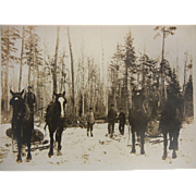 Vintage Original B&W Photograph - Men Logging w/ Horses