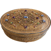 Vintage APOLLO Jeweled Brass Trinket Box