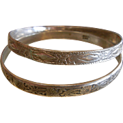 Pair of Vintage TAXCO Sterling Silver Bangle Bracelets