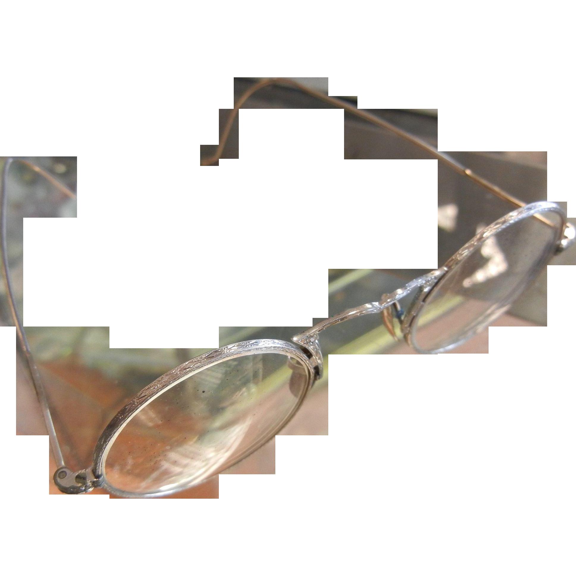 Vintage 10K White Gold Filled Eyeglasses