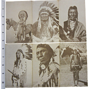 Vintage B&W Native American Chiefs Photographs - Set of 6