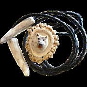 Vintage Bolo Tie Necklace w/ Carved Bone Amulet