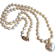 Gorgeous Cultured Pearl Necklace w/ 14K Pearl Heart