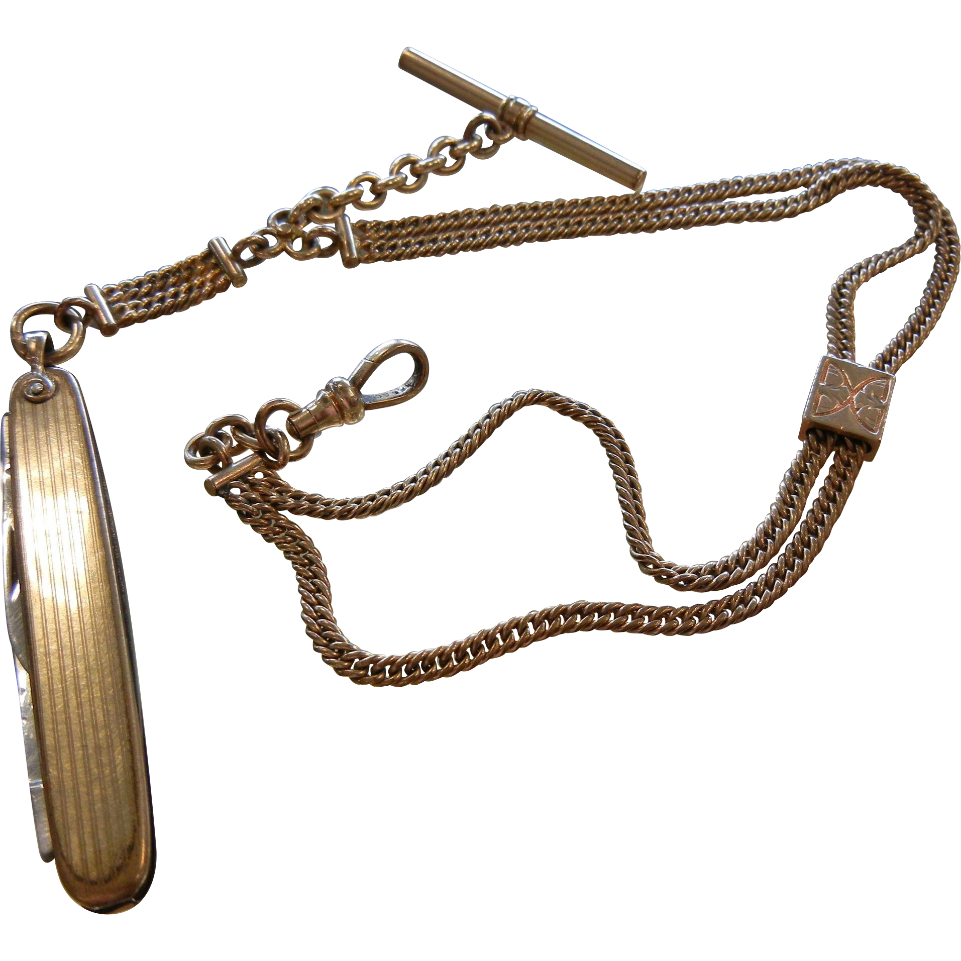 Vintage Gold Filled Watch Fob Chain w/ Pocket Knife