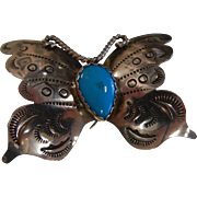 Signed Sterling Silver Butterfly Brooch w/ Natural Turquoise