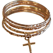 Stacked 14 K  Gold Ring Bands w/ Cross Charm Set of 7