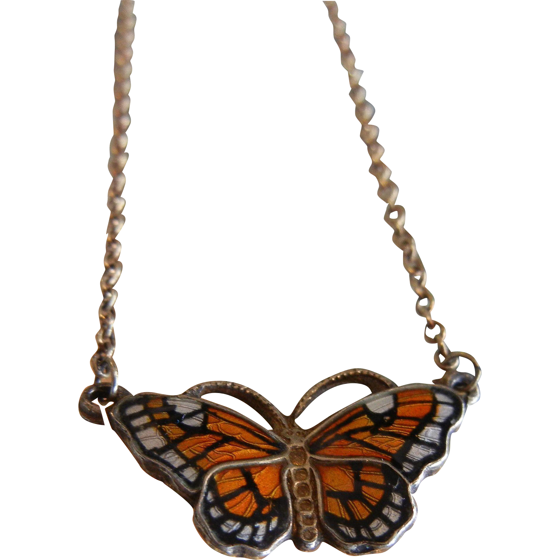 Vintage Norway David Anderson Sterling Silver Enameled Butterfly Necklace