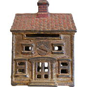 Vintage Cast Iron Building Cottage House Coin Bank