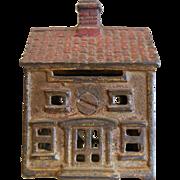 Vintage Cast Iron Building Cottage House Coin Bank