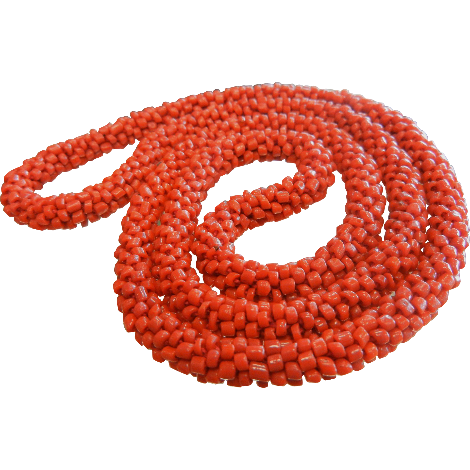 Wonderful Hand Knotted Natural Coral Seed Bead Necklace
