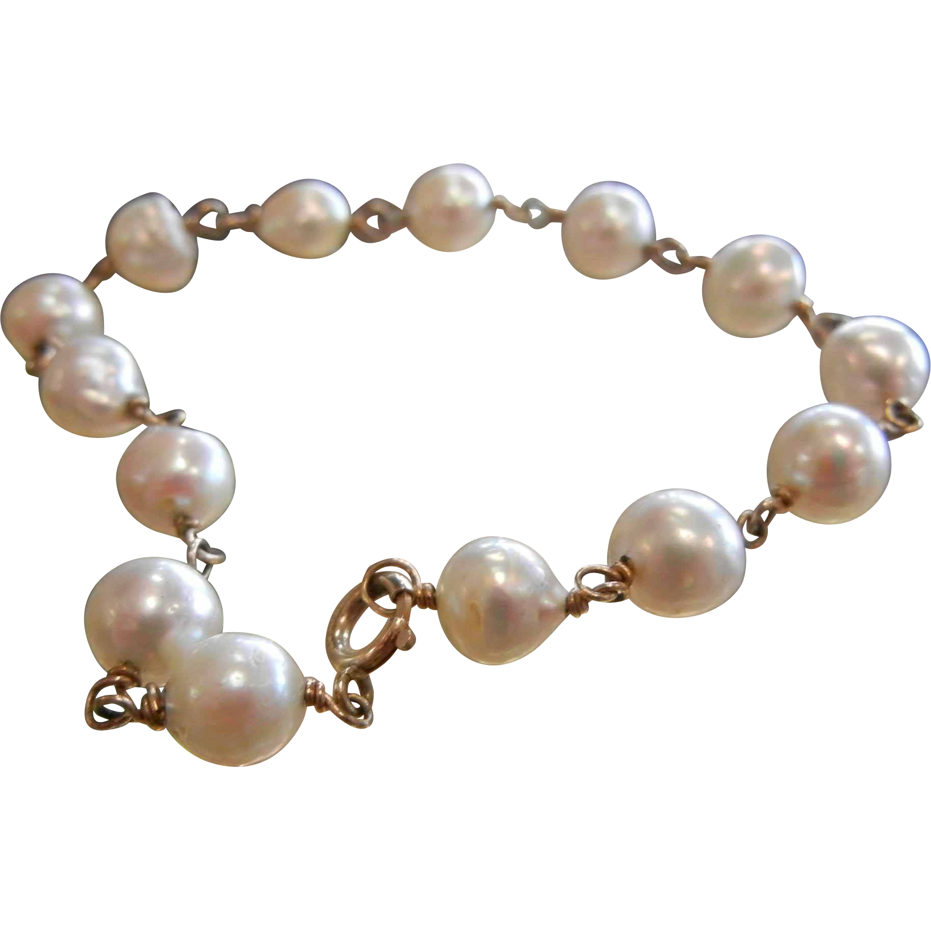 Fine 14K Gold Bracelet w/ Cultured Pearls