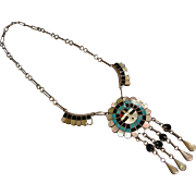 Vintage Sterling Silver Inlaid Sun God Necklace - Signed J.D. MASSIE