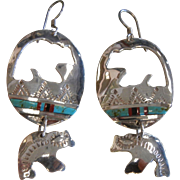 Vintage Sterling Silver Spirit Bear Silhouette Earrings w/ Natural Stones