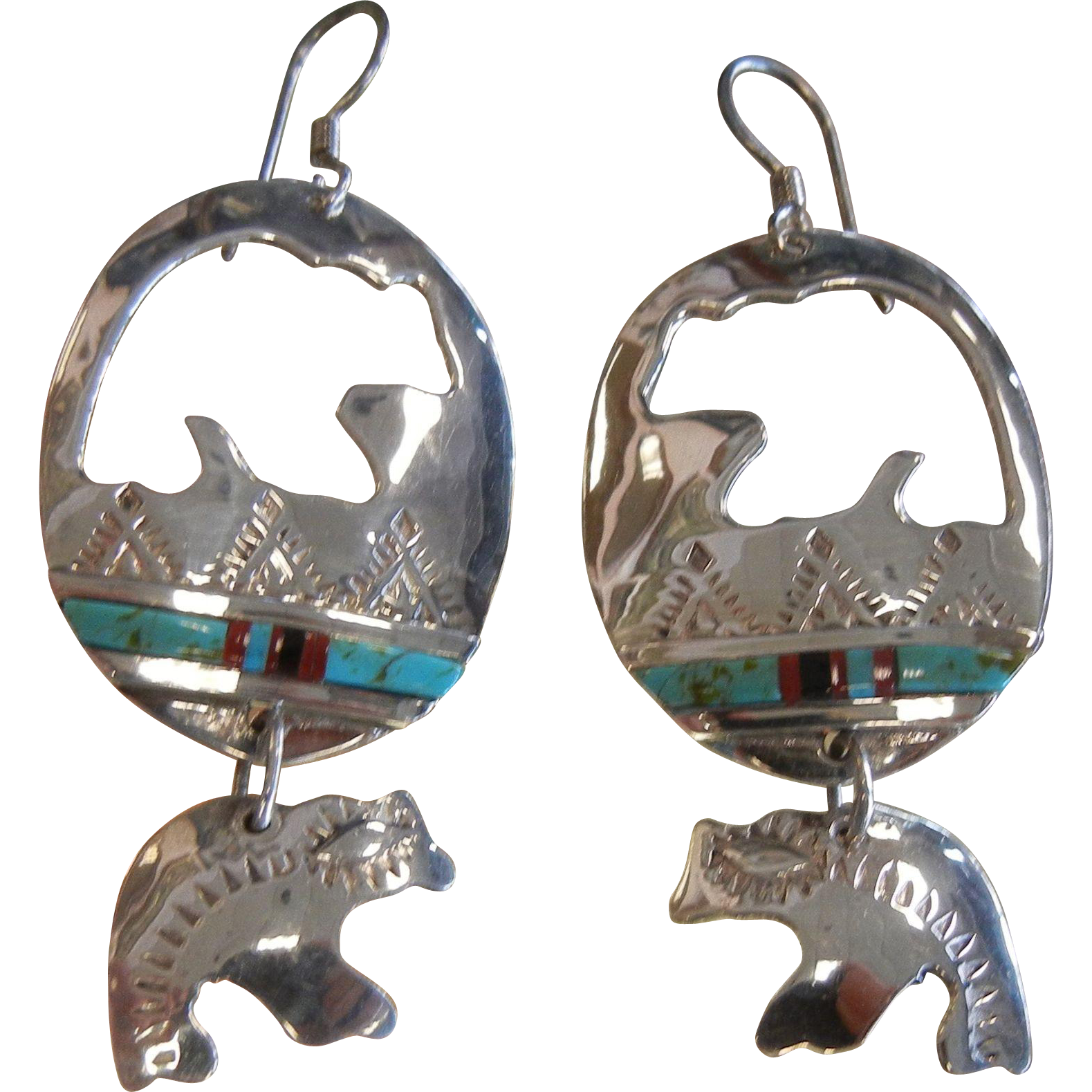 Vintage Sterling Silver Spirit Bear Silhouette Earrings w/ Natural Stones