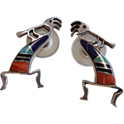 Signed Sterling Silver Kokopelli Stud Earrings w/ Natural Stones