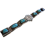 Vintage Native American Signel LL Sterling Silver & Turquoise Watch Ends & Timex Face