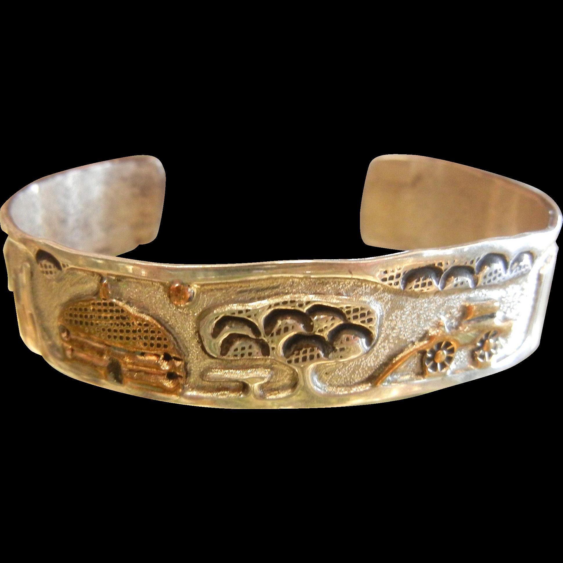 Vintage Navajo Story Teller Sterling Silver Cuff Bracelet - Signed A. Henry
