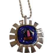 Vintage Sterling Silver Art Glass Pendant w/ Mayan Inspired Face