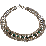 Vintage Mexico Interlaced Sterling Silver Choker Necklace w/ Natural Malachite Stones