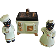 Vintage Blackamoor Ceramic Kitchen Salt & Pepper Shaker Container Set