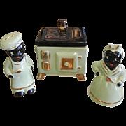 Vintage Blackamoor Ceramic Kitchen Salt & Pepper Shaker Container Set