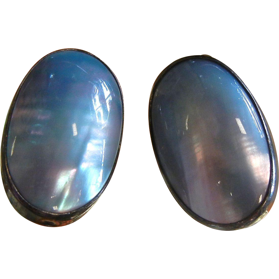 Vintage Sterling Silver Clip Earrings w/ Natural Abalone - Signed El Ganado