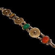 Fine Vintage Gold-Tone Link Bracelet w/ Carved Natural Stone Scarab