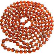 Fabulous Ultra Long Natural Carnelian Bead Necklace