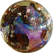 "GLASS EYE STUDIO ""Lizzard"" Multi Colored Iridescent Art Glass Paperweight"