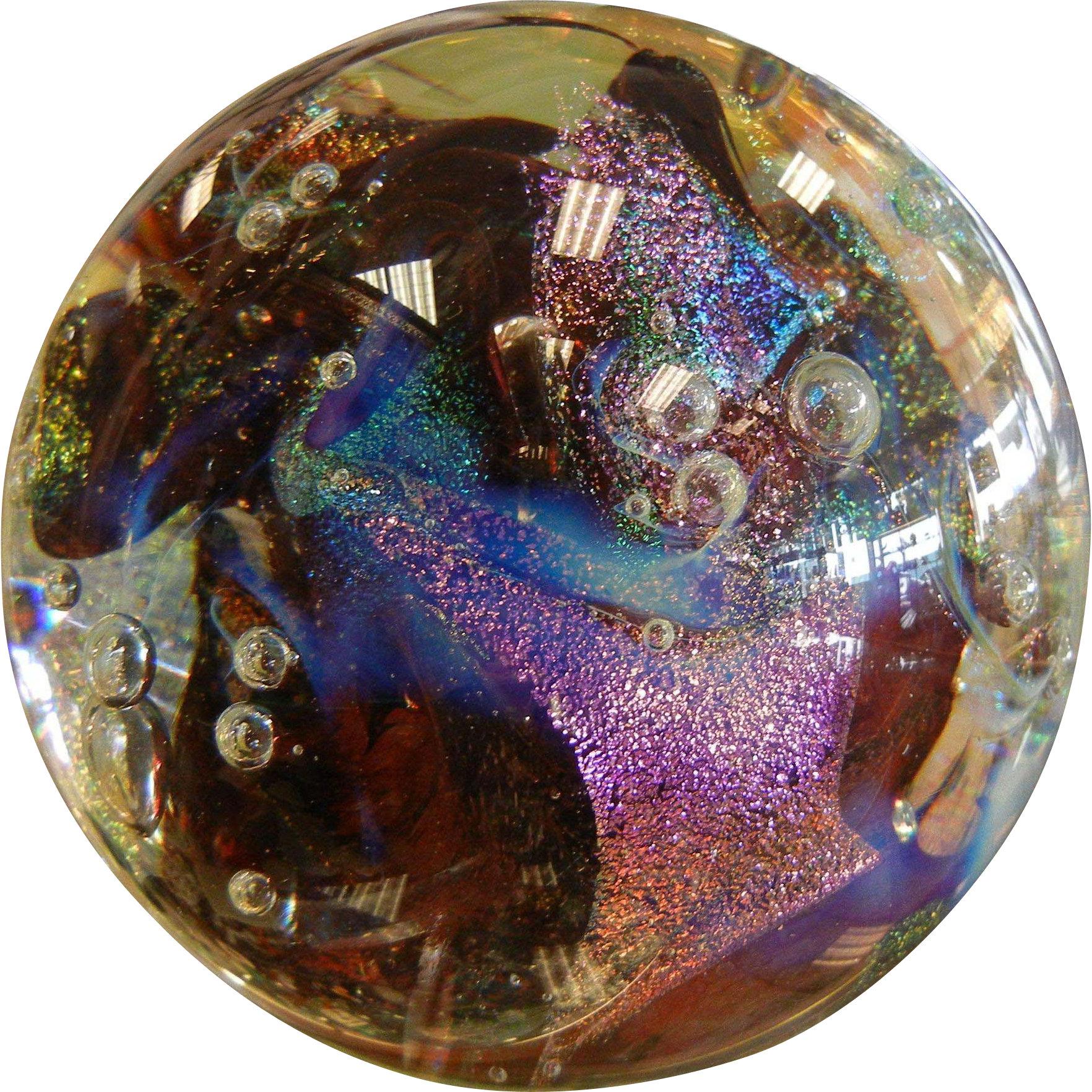 "GLASS EYE STUDIO ""Lizzard"" Multi Colored Iridescent Art Glass Paperweight"