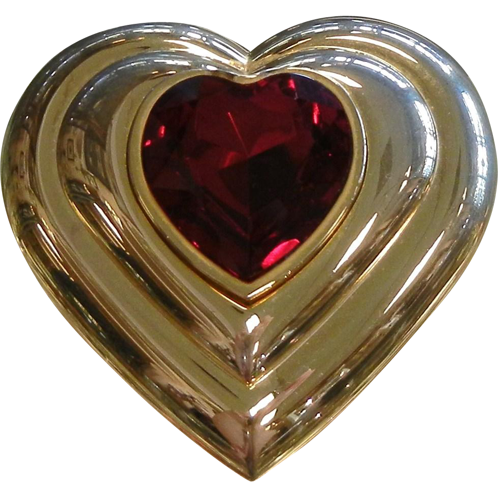 Vintage 1980's YSL Yves Saint Laurent Poudre Ecrin Heart-Shaped Jeweled Powder Compact